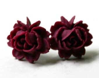 Red Rose Earrings - Stud Earrings