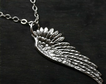 Silver Steampunk Angel Wing Necklace