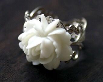 White Rose Cocktail Ring