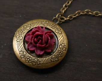 Red Rose Locket Necklace in Antique Brass