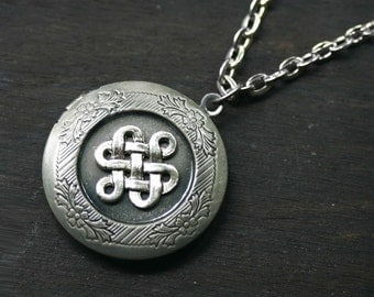 Celtic Locket in Antique Silver