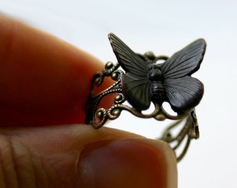 Black Butterfly Ring - Goth Moth