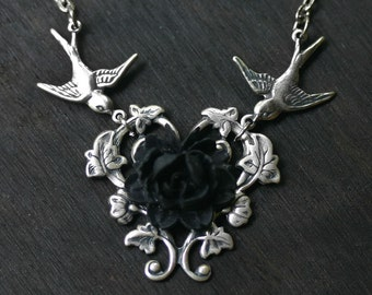 Black Rose Necklace With Vintage Swallows