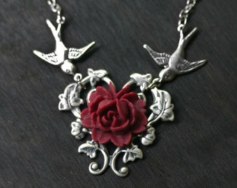 Red Rose Necklace With Vintage Swallows