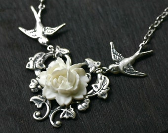 White Rose Necklace with Birds