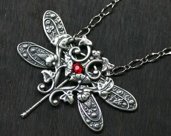 Silver Dragonfly Necklace with Ruby Red Swarovski Rhinestone