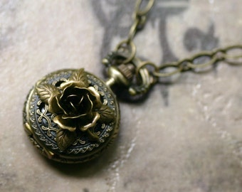 Victorian Pocket Watch Necklace with Antique Brass Rose