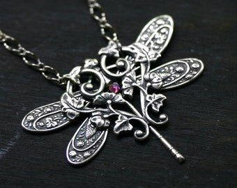 Dragonfly Necklace with Amethyst Swarovski Crystal in Antique Silver