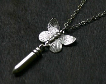 Bullet With Butterfly Wings Necklace
