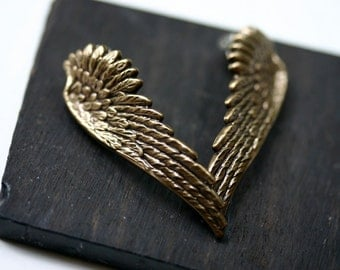 Angel Wing Ear Climber Earrings - Clip On Gold