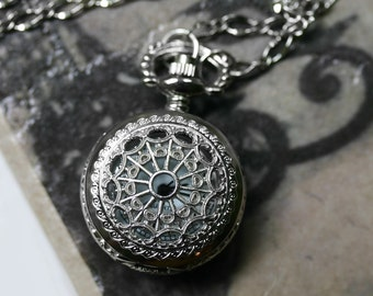Steampunk Pocket Watch Necklace - Silver Mini-Maritime