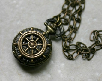 Steampunk Sailors Pocket Watch Necklace - Nautical