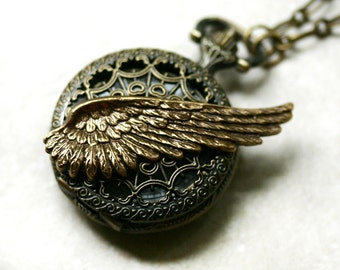 Steampunk Angel Wing Pocket Watch Necklace