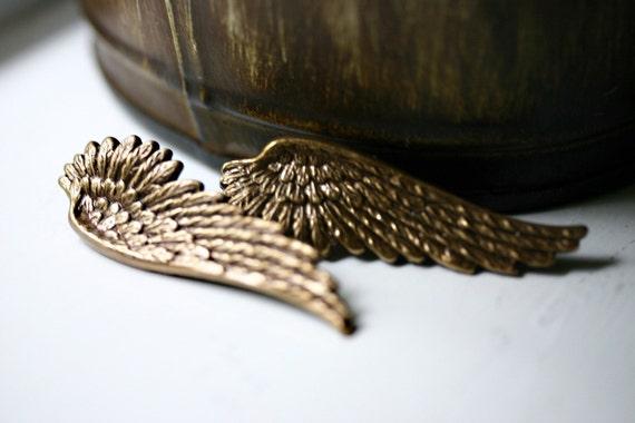 Angel Wing Earrings - Gold Post Stud