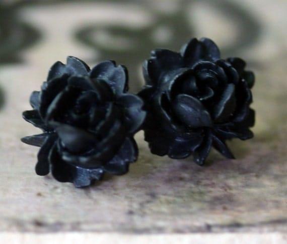 Black Rose Earrings - Gothic Lolita