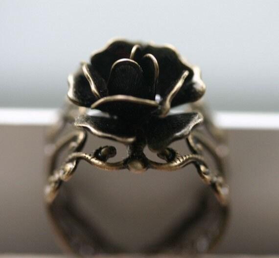 Steam Punk Rose Ring in Antique Brass