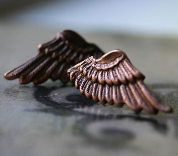 Small Angel Wing Earrings in Copper - LAST PAIR