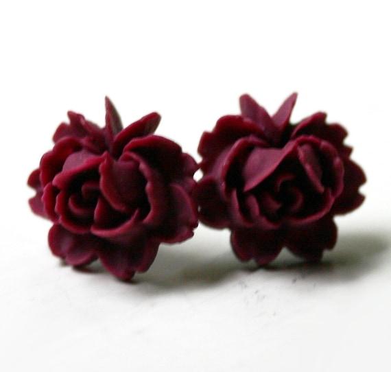 Red Rose Earrings Red Rose Earrings Stud
