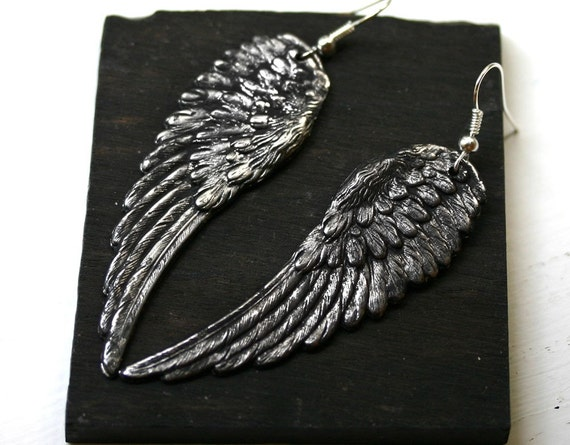 Angel Wing Earrings - LARGE Black and Silver Finish