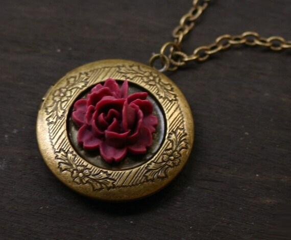 Red Rose Locket Necklace in Antique Brass