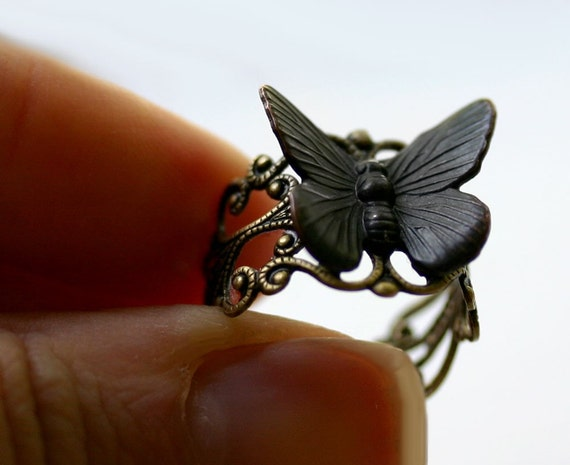 Butterfly Ring - Steampunk Black Goth Moth