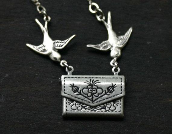 SALE Envelope Necklace - Love Letter Locket in Antique Silver