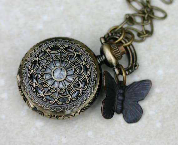 Butterfly Pocket Watch Necklace