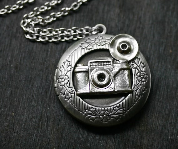 Camera Locket in Antique Silver