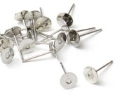 200 pcs (100 pairs) Silver Stud Earrings 6mm Pads, Earring Posts, Earring Stud, Surgical Steel, Cabochon Setting A3-002