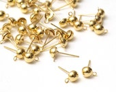 40 pcs (20 pairs) Gold Ball Post Stud Earrings, 6mm Haft Ball with Loop, A14-011