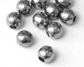 50 pcs 6mm Antiqued Silver Beads, Small Round Metal Spacer Beads, A18-010