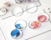 10 pcs 12mm Clear Glass Cabochon, Round Cabochon, A31-005