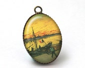 2 pcs 25x18mm Cabochon Resin Pendant with Brass Base Settings, Vincent Van Gogh Jewelry A38-09-033
