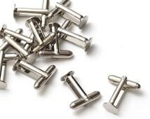 100 pcs (50 pairs) Silver Cufflink Base Blank Findings Backs Cuff Link Glue Pad 8mm, B1-001