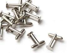 4 pcs (2 pairs) Silver Cufflink Backs Blank Findings Base Cuff Link Glue Pad 8mm, B1-001