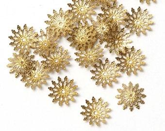 100 pcs Gold Flower Bead Caps, Filigree Bead Caps, Bead Caps Beadcap, Connector, 12mm C10-004