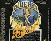 Blue Hen Vintage Beer Label, 1990's