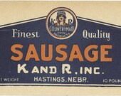 Finest Quality K and R Sausage Vintage Advertising Sign 1940's