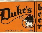 Bulldog Duke's Beer Vintage Label, 1960s