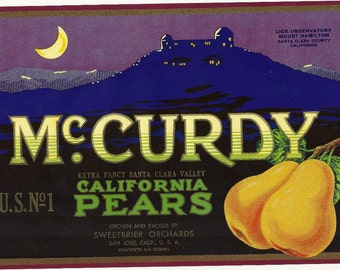 McCurdy Pear Vintage Crate Label, 1920's