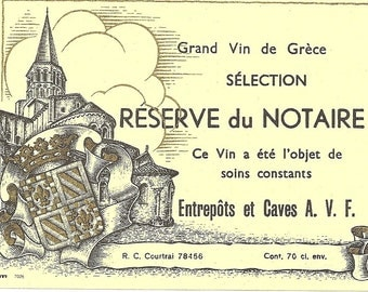 Grand Vin de Grece Vintage Wine Label, 1930's