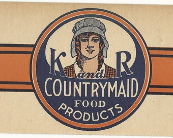 K and R Countrymaid Food Products Ad Sign, 1940's