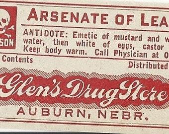 Arsenate of Lead Vintage Pharmacy Label, 1920's