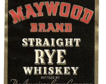 Kinsey's Pennsylvania Rye Large Maywood Whiskey Vintage Label, 1930's
