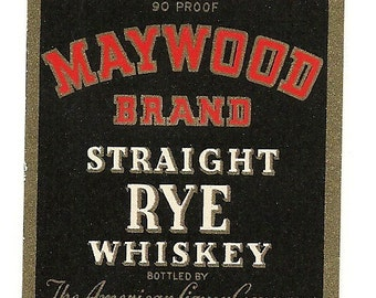 Kinsey's Pennsylvania Rye Maywood Whiskey Vintage Label, 1930's