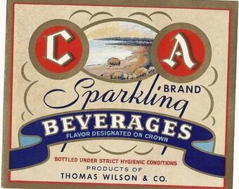 C A Brand Soda Label, 1940's