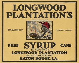 Large Longwood Plantation's Syrup Vintage Label, 1920's