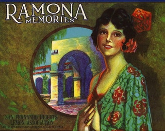Ramona Memories Vintage Crate Label, 1940's
