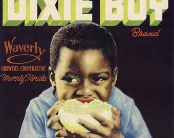 Dixie Boy Melon Vintage Crate Label, 1930's