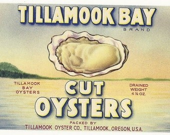 Tillamook Bay Oysters Vintage Can Label, 1930s